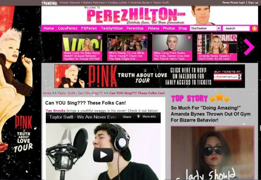 "PerezHilton.com Adds Tae's Cover of Taylor Swift ""WANEGBT"""